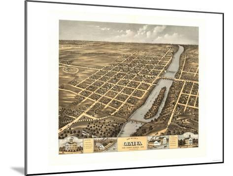 Geneva, Illinois - Panoramic Map-Lantern Press-Mounted Art Print