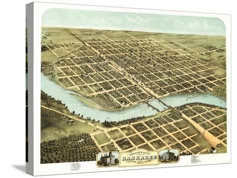 Kankakee, Illinois - Panoramic Map-Lantern Press-Stretched Canvas Print
