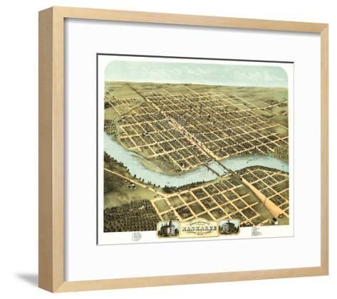 Kankakee, Illinois - Panoramic Map-Lantern Press-Framed Art Print