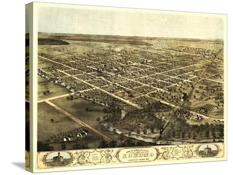 Kokomo, Indiana - Panoramic Map-Lantern Press-Stretched Canvas Print