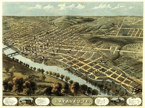 Lafayette, Indiana - Panoramic Map-Lantern Press-Stretched Canvas Print