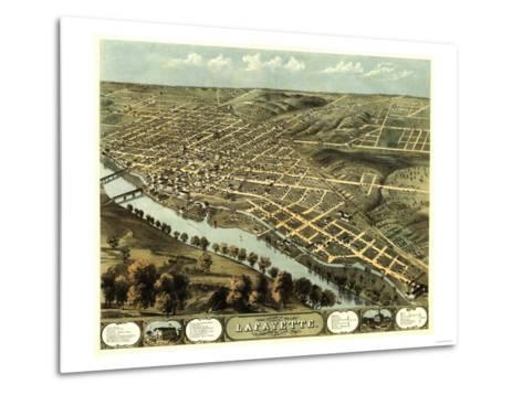 Lafayette, Indiana - Panoramic Map-Lantern Press-Metal Print
