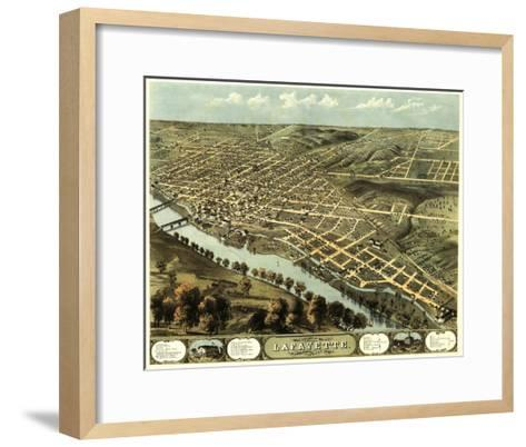 Lafayette, Indiana - Panoramic Map-Lantern Press-Framed Art Print