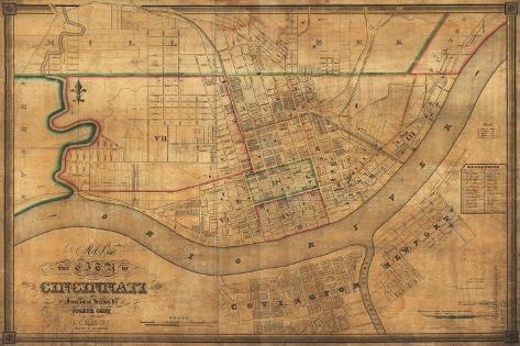 Cincinnati, Ohio - Panoramic Map-Lantern Press-Stretched Canvas Print
