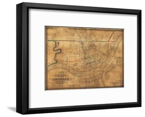 Cincinnati, Ohio - Panoramic Map-Lantern Press-Framed Art Print