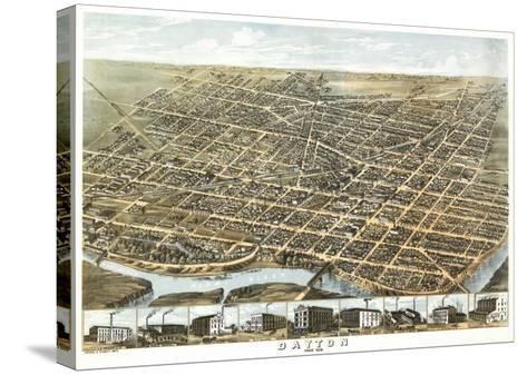 Dayton, Ohio - Panoramic Map-Lantern Press-Stretched Canvas Print