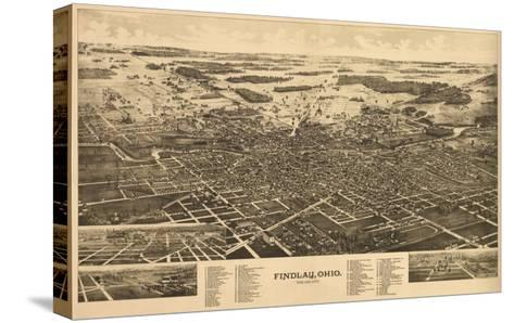 Findlay, Ohio - Panoramic Map-Lantern Press-Stretched Canvas Print