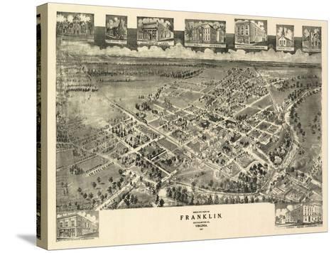Franklin, Virginia - Panoramic Map-Lantern Press-Stretched Canvas Print