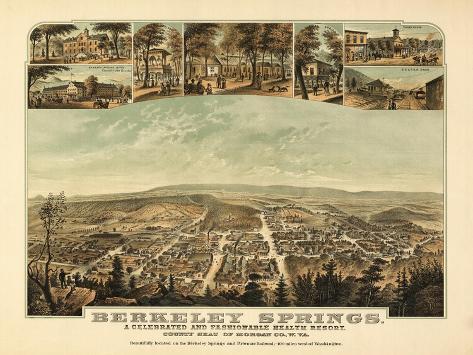 Berkeley Springs, West Virginia - Panoramic Map-Lantern Press-Stretched Canvas Print