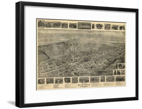 Bluefield, West Virginia - Panoramic Map-Lantern Press-Framed Art Print