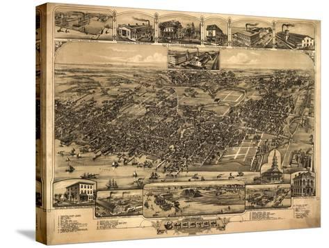 Chester, Pennsylvania - Panoramic Map-Lantern Press-Stretched Canvas Print