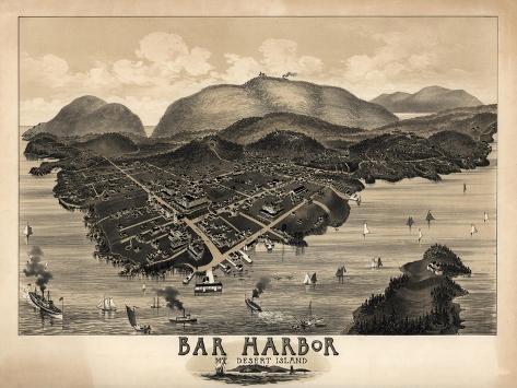Bar Harbor, Maine - Panoramic Map-Lantern Press-Stretched Canvas Print