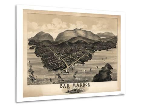 Bar Harbor, Maine - Panoramic Map-Lantern Press-Metal Print