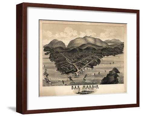 Bar Harbor, Maine - Panoramic Map-Lantern Press-Framed Art Print