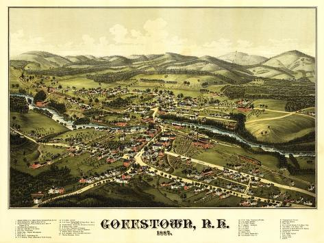 Goffstown, New Hampshire - Panoramic Map-Lantern Press-Stretched Canvas Print