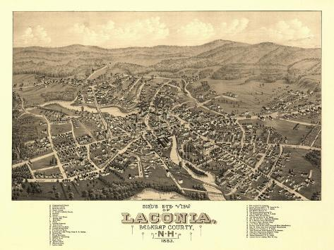 Laconia, New Hampshire - Panoramic Map-Lantern Press-Stretched Canvas Print