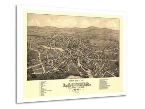 Laconia, New Hampshire - Panoramic Map-Lantern Press-Metal Print