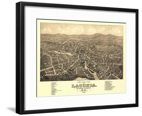 Laconia, New Hampshire - Panoramic Map-Lantern Press-Framed Art Print