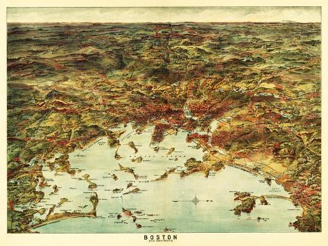 Boston, Massachusetts - Panoramic Map No. 1-Lantern Press-Stretched Canvas Print