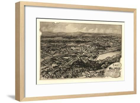 East Walpole, Massachusetts - Panoramic Map-Lantern Press-Framed Art Print