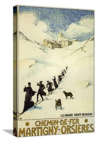 France - Monks Skiing atop the Great St. Bernard Pass Railroad Poster-Lantern Press-Stretched Canvas Print