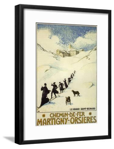France - Monks Skiing atop the Great St. Bernard Pass Railroad Poster-Lantern Press-Framed Art Print
