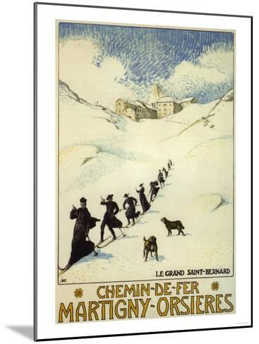 France - Monks Skiing atop the Great St. Bernard Pass Railroad Poster-Lantern Press-Mounted Art Print