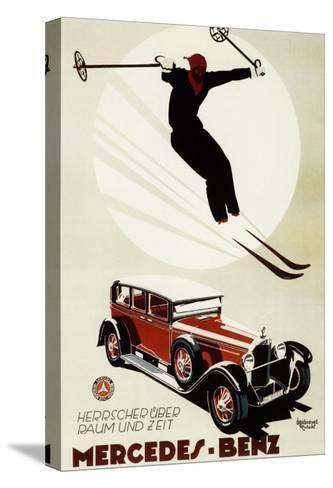 Germany - Skier Jumping over a Mercedes-Benz Promotional Poster-Lantern Press-Stretched Canvas Print