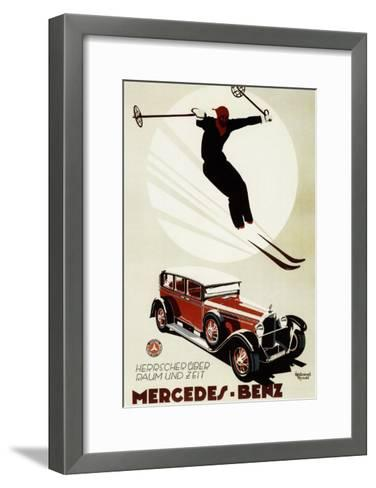 Germany - Skier Jumping over a Mercedes-Benz Promotional Poster-Lantern Press-Framed Art Print