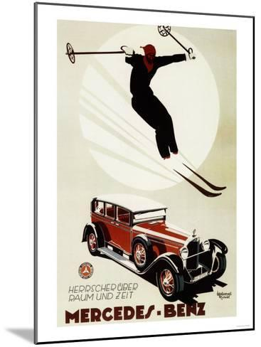Germany - Skier Jumping over a Mercedes-Benz Promotional Poster-Lantern Press-Mounted Art Print