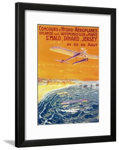 Brittany, France - View of Float Planes in Air and Water Poster-Lantern Press-Framed Art Print