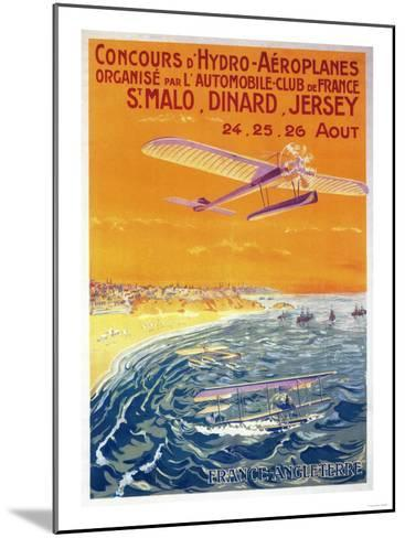 Brittany, France - View of Float Planes in Air and Water Poster-Lantern Press-Mounted Art Print