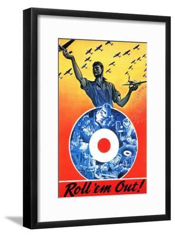 Canada - Roll 'em Out Royal Canadian Air Force WWII Propaganda Poster-Lantern Press-Framed Art Print
