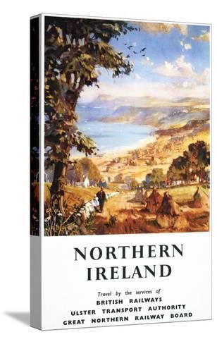 Northern Ireland - Pastoral Scene Man and Dog British Railways Poster-Lantern Press-Stretched Canvas Print