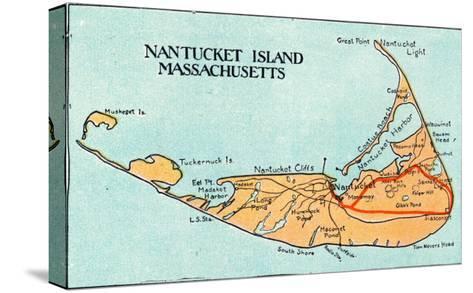 Nantucket, Massachusetts - Map of the Island-Lantern Press-Stretched Canvas Print
