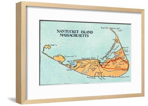 Nantucket, Massachusetts - Map of the Island-Lantern Press-Framed Art Print