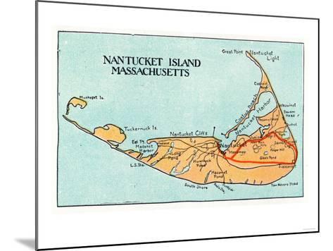 Nantucket, Massachusetts - Map of the Island-Lantern Press-Mounted Art Print