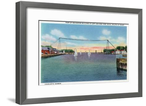 Rochester, NY - Charlotte Harbor View of Rochester Port and NY Naval Militia-Lantern Press-Framed Art Print