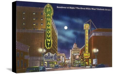 Portland, Oregon - View of Broadway at Night, the Paramount Theatre Scene-Lantern Press-Stretched Canvas Print