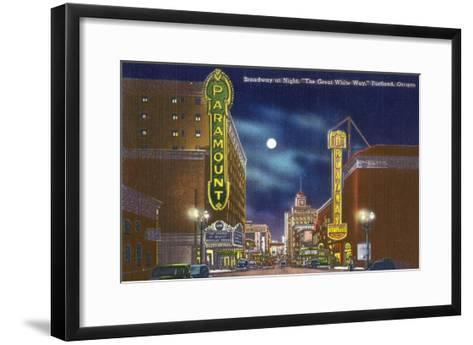 Portland, Oregon - View of Broadway at Night, the Paramount Theatre Scene-Lantern Press-Framed Art Print