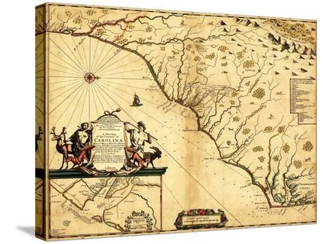 Carolinas with North to the Right - Panoramic Map-Lantern Press-Stretched Canvas Print
