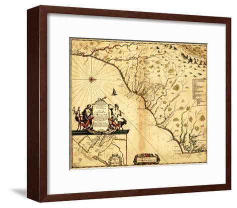 Carolinas with North to the Right - Panoramic Map-Lantern Press-Framed Art Print