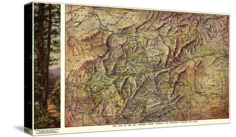 Western North Carolina - Panoramic Map-Lantern Press-Stretched Canvas Print
