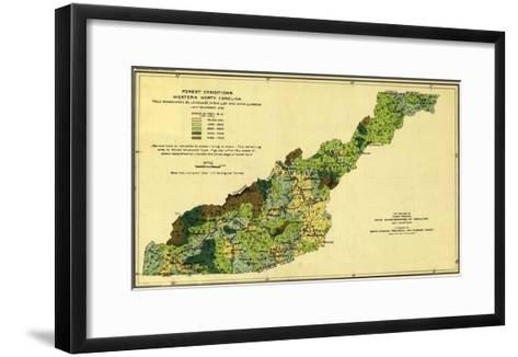 Forests of Western North Carolina - Panoramic Map-Lantern Press-Framed Art Print