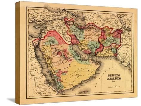 "Middle East ""Persia Arabia"" - Panoramic Map-Lantern Press-Stretched Canvas Print"