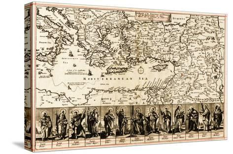 Travels of the Apostle Paul - Panoramic Map-Lantern Press-Stretched Canvas Print