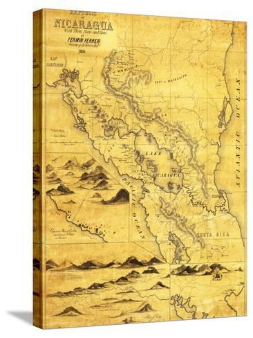 Nicaragua - Panoramic Map-Lantern Press-Stretched Canvas Print