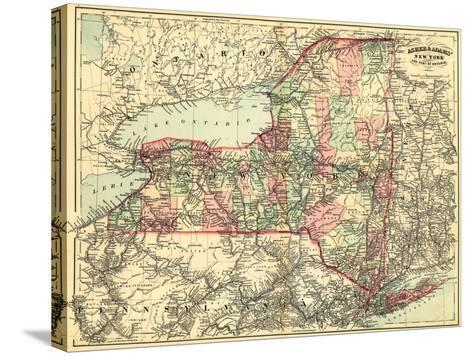 New York - Panoramic Map-Lantern Press-Stretched Canvas Print