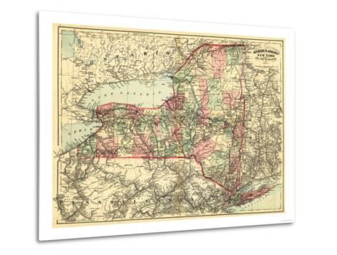 New York - Panoramic Map-Lantern Press-Metal Print