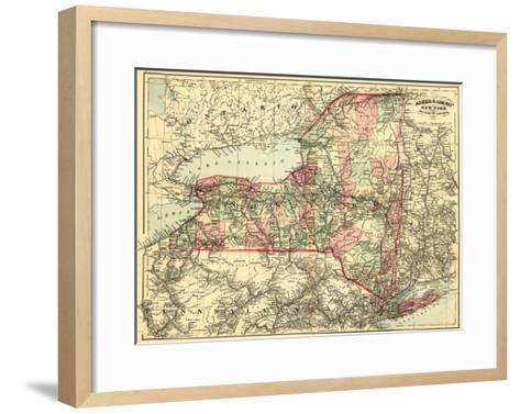 New York - Panoramic Map-Lantern Press-Framed Art Print